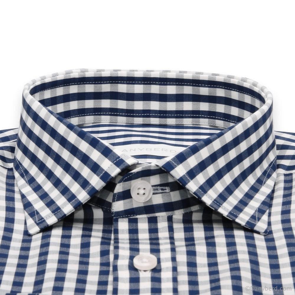 Chemise Cairo : Vichy Bleu et Blanc - Slim-Cut - Col Français (chemise)