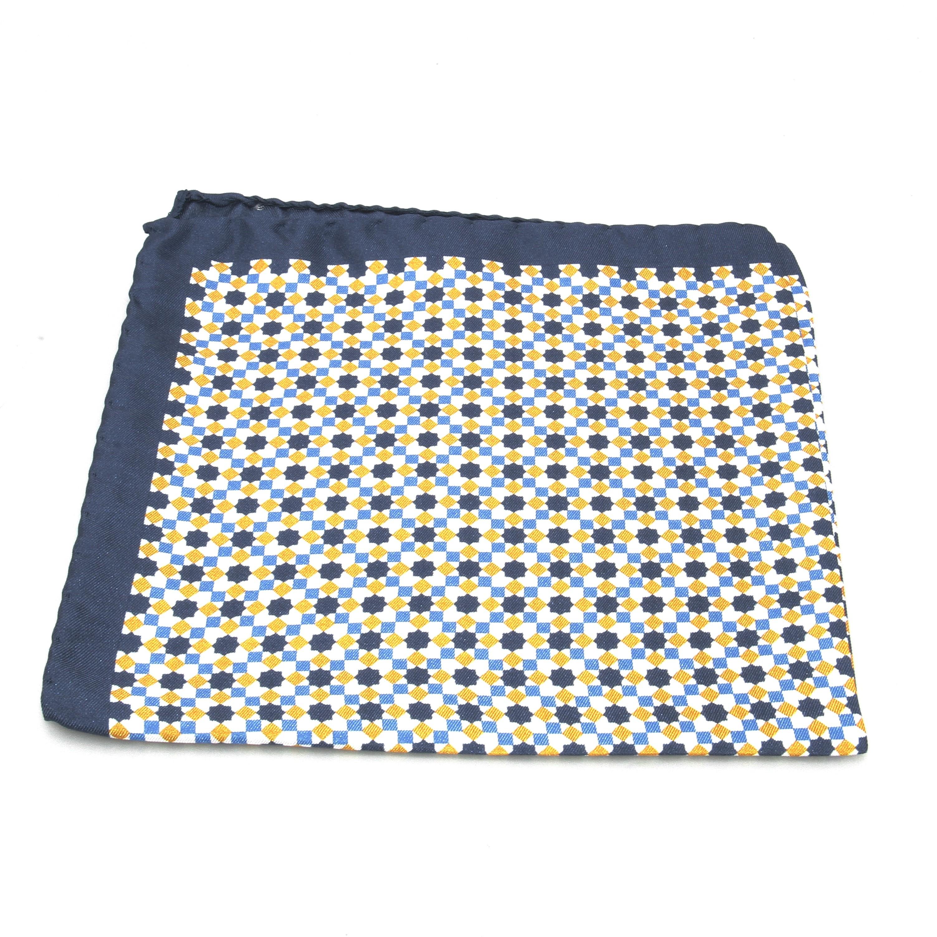 Pochette Soie : Motifs jaunes bleus et blancs (Pochettes)