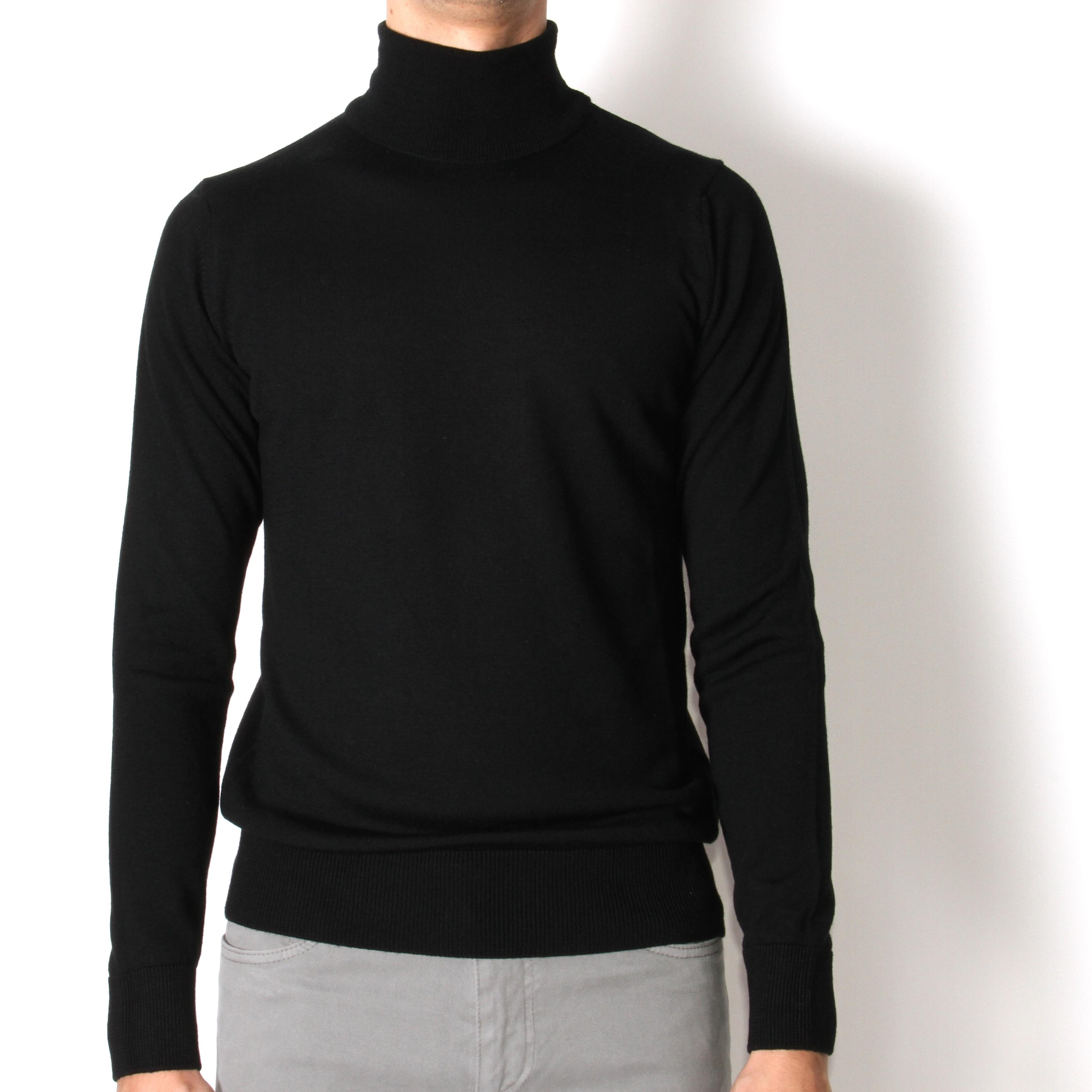 Pull Col roulé : noir - pure laine (pulls)