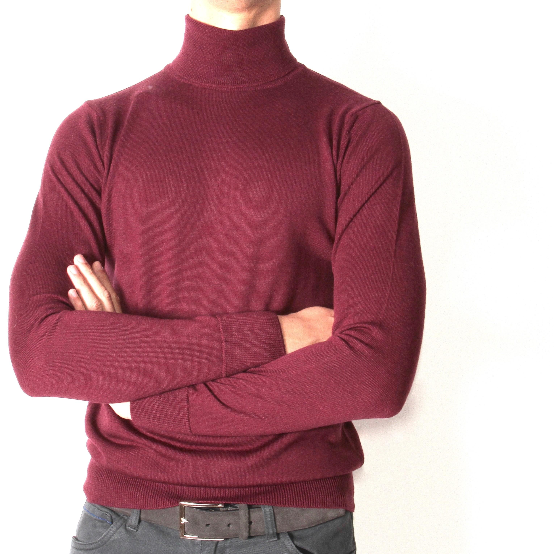 Pull Col roulé : bordeaux- pure laine (pulls)