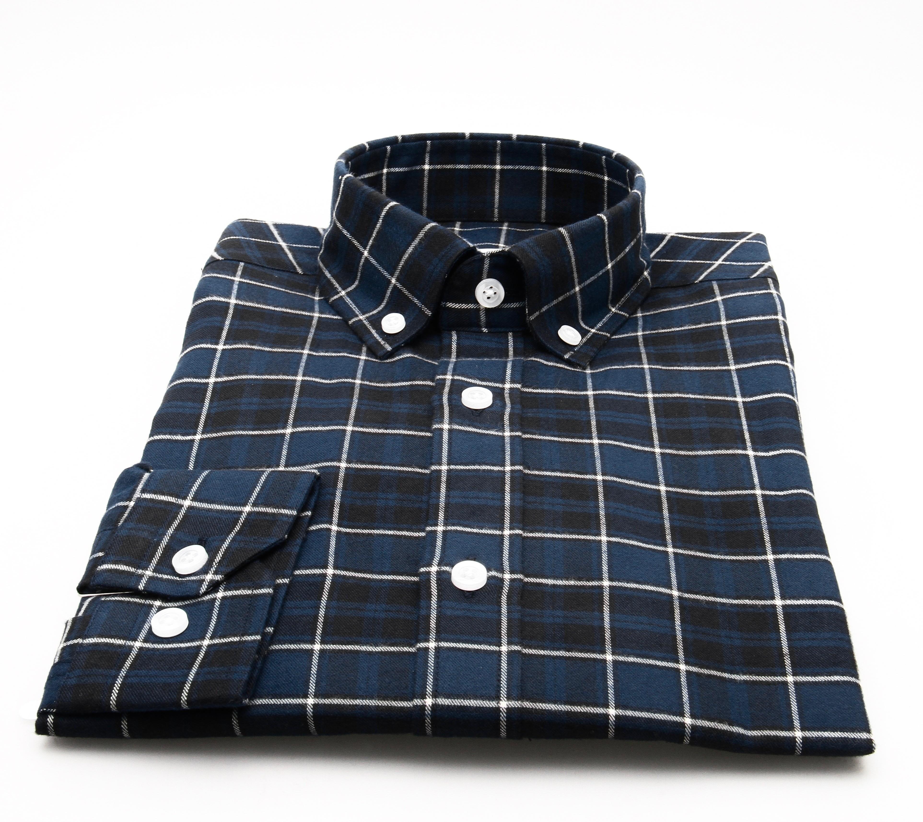 Chemise Winter Vermont : Carreaux marines bleus et blancs - Flanelle (chemise)