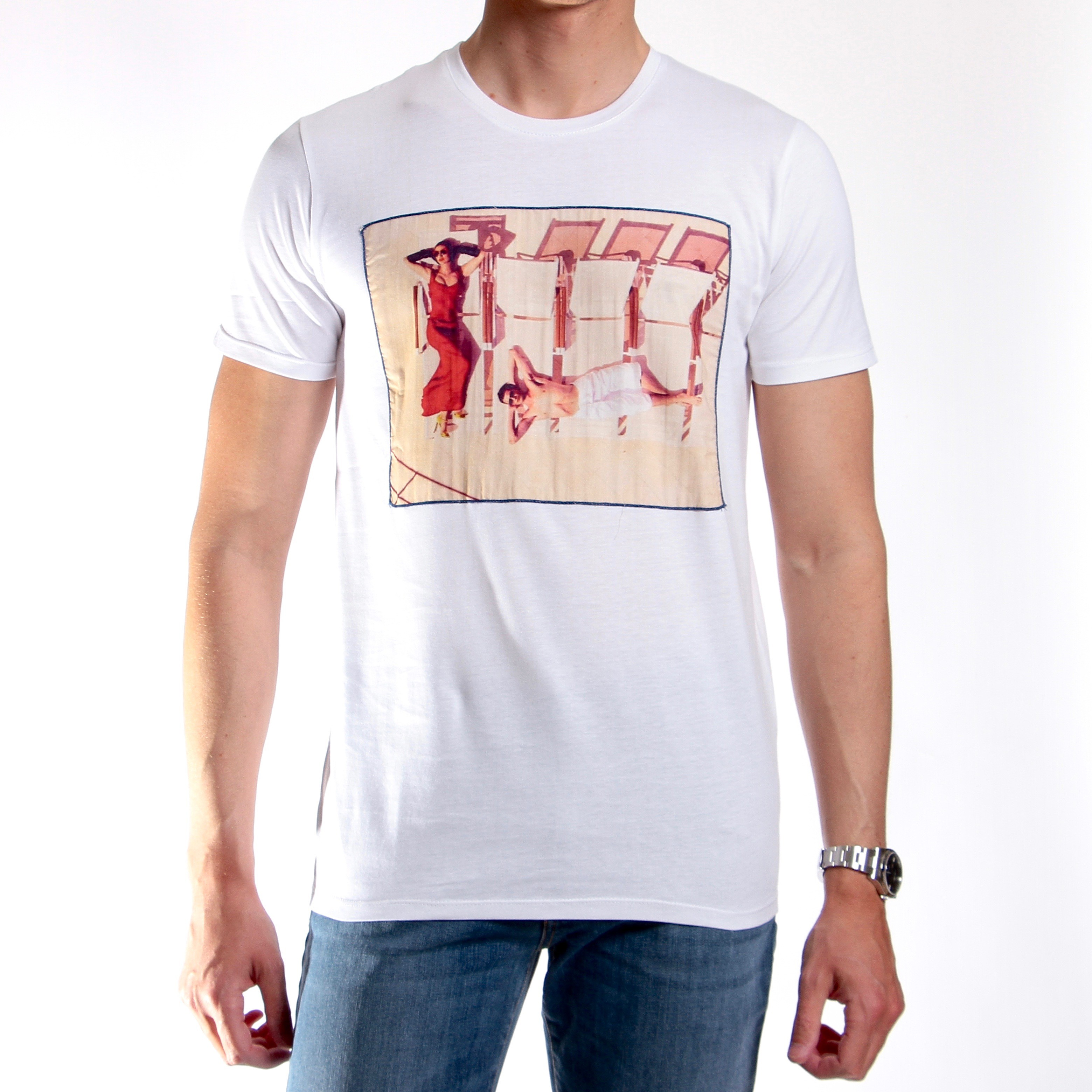 Tee-shirt Stampa beach : blanc - coton (Tee-shirt)