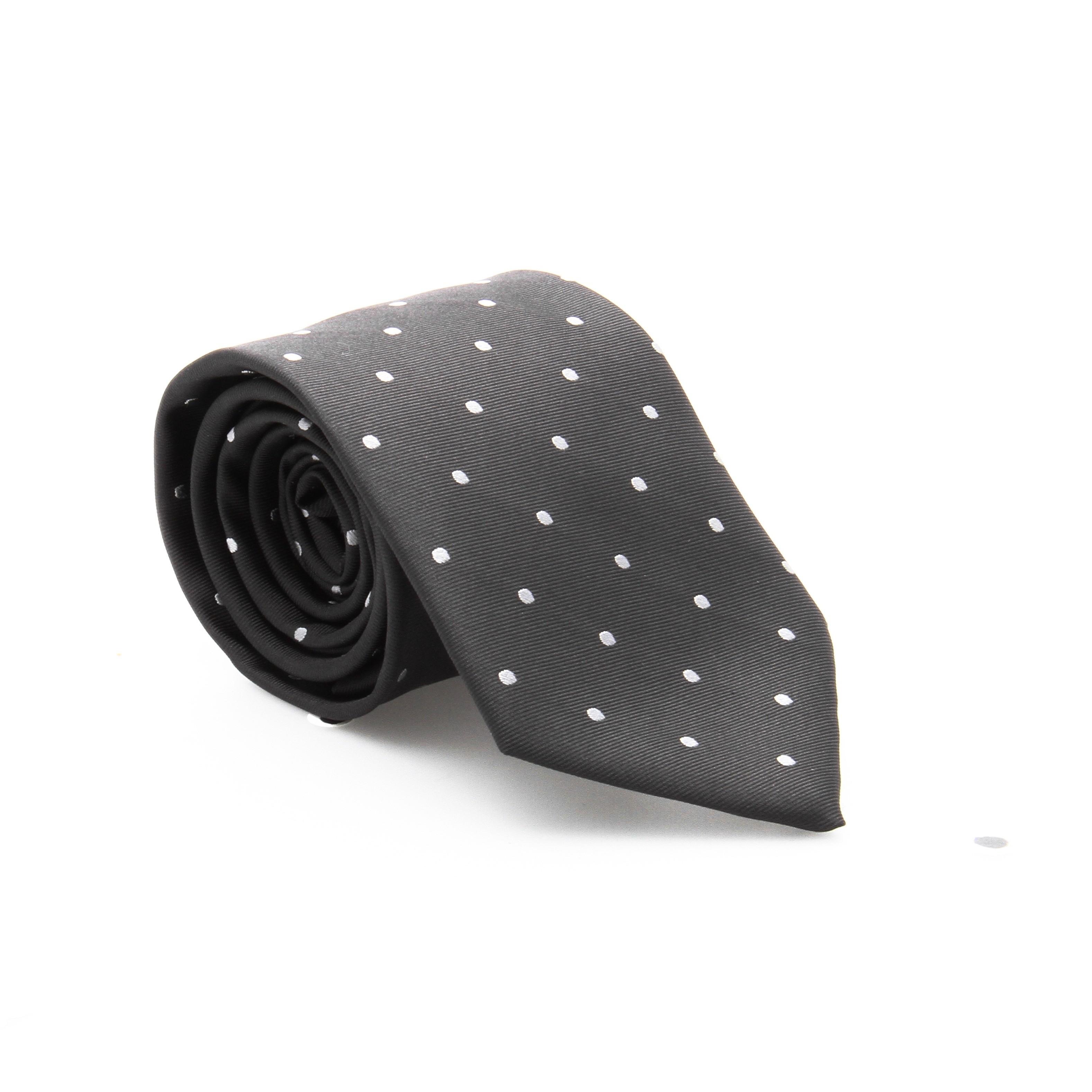 Cravate en soie : base noire - pois blanc (cravate)