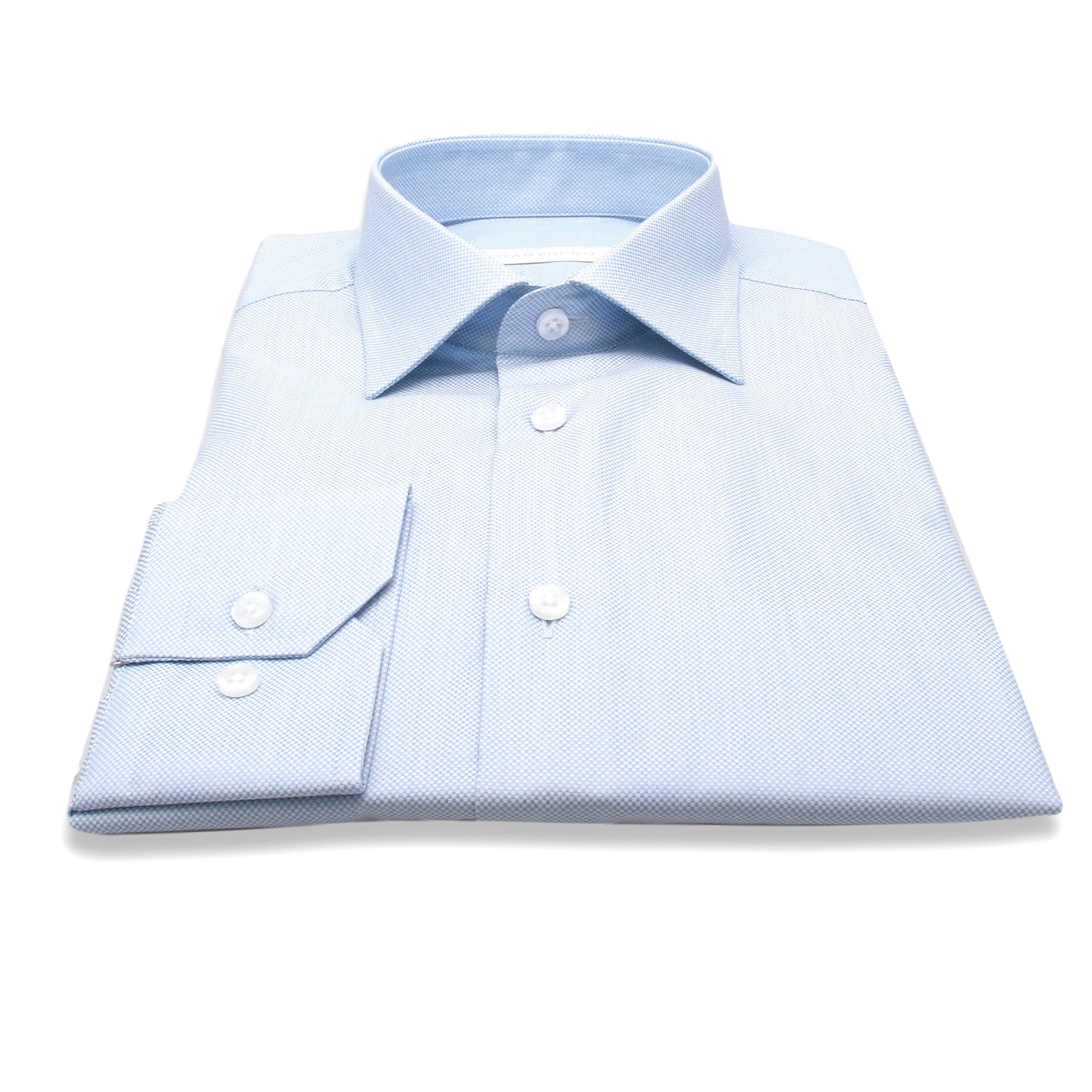 Chemise Nelson : Bleu - Coton Natté - Col français (chemise)