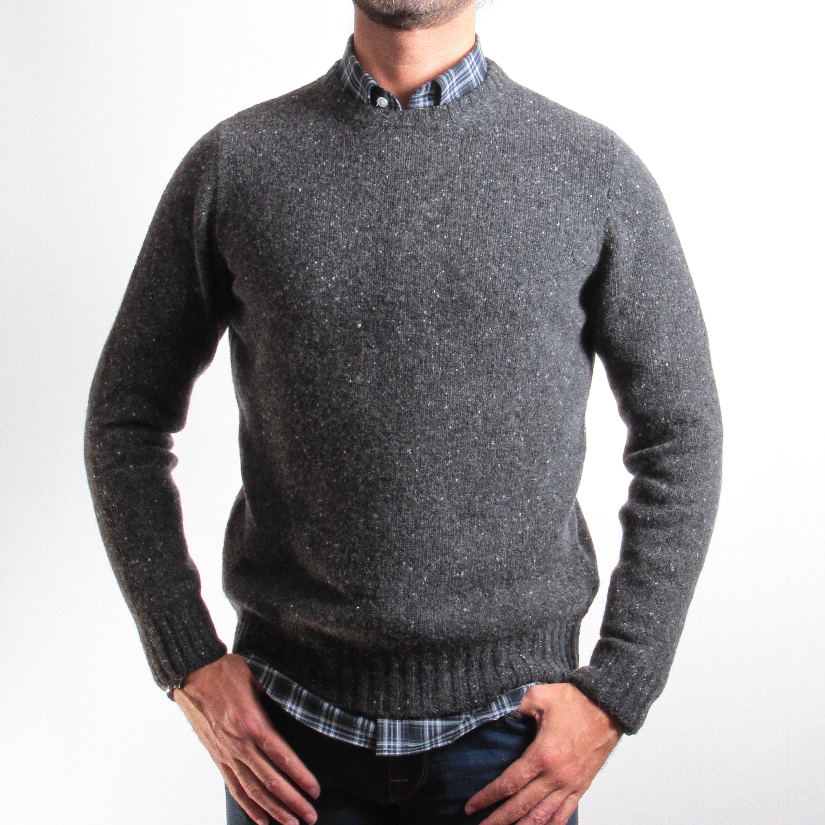 Pull chiné : gris - Col rond (pulls)