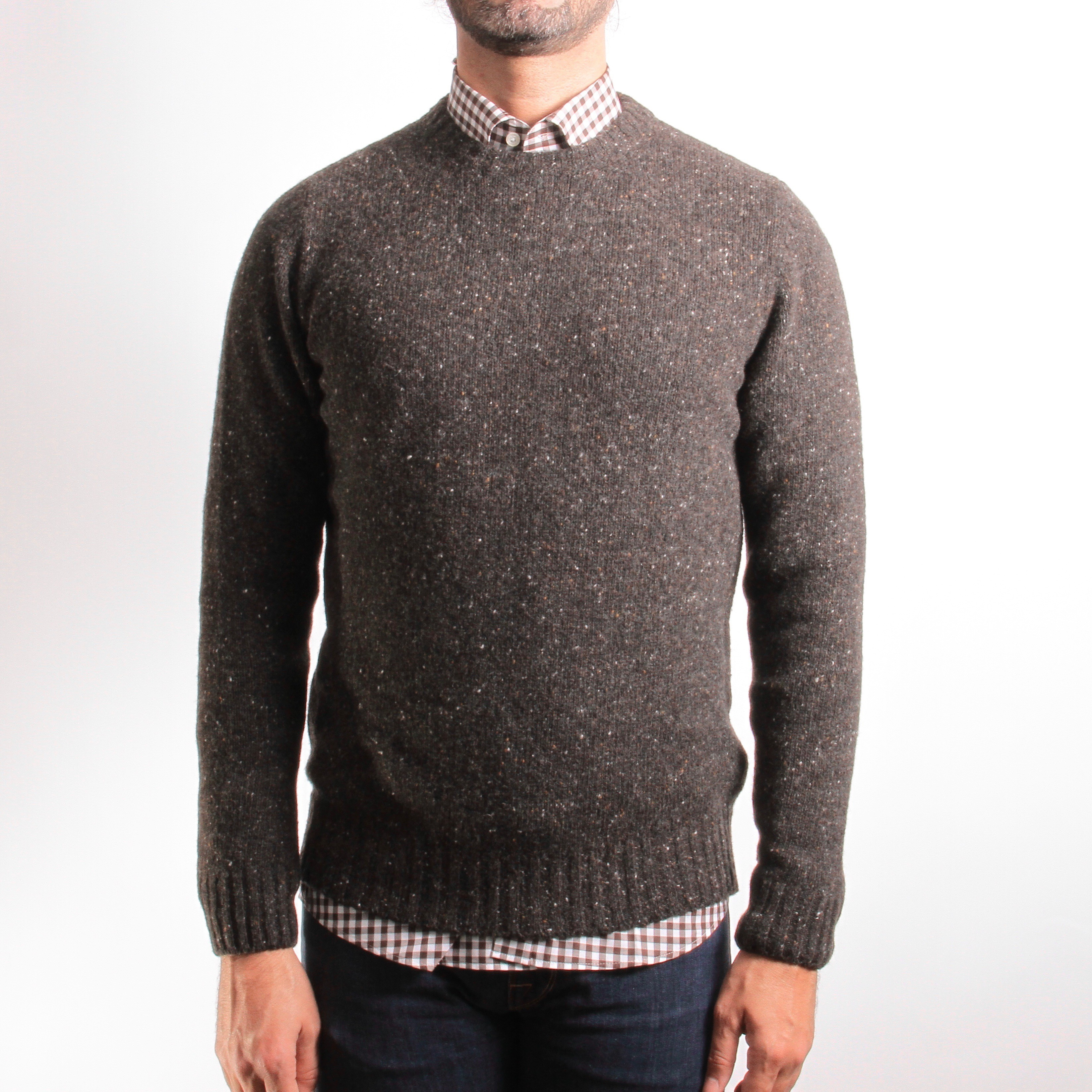 Pull chiné : marron - Col rond (pulls)