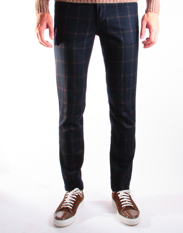 Jean Italie flanelle : Marine - carreaux fauves (pantalon)