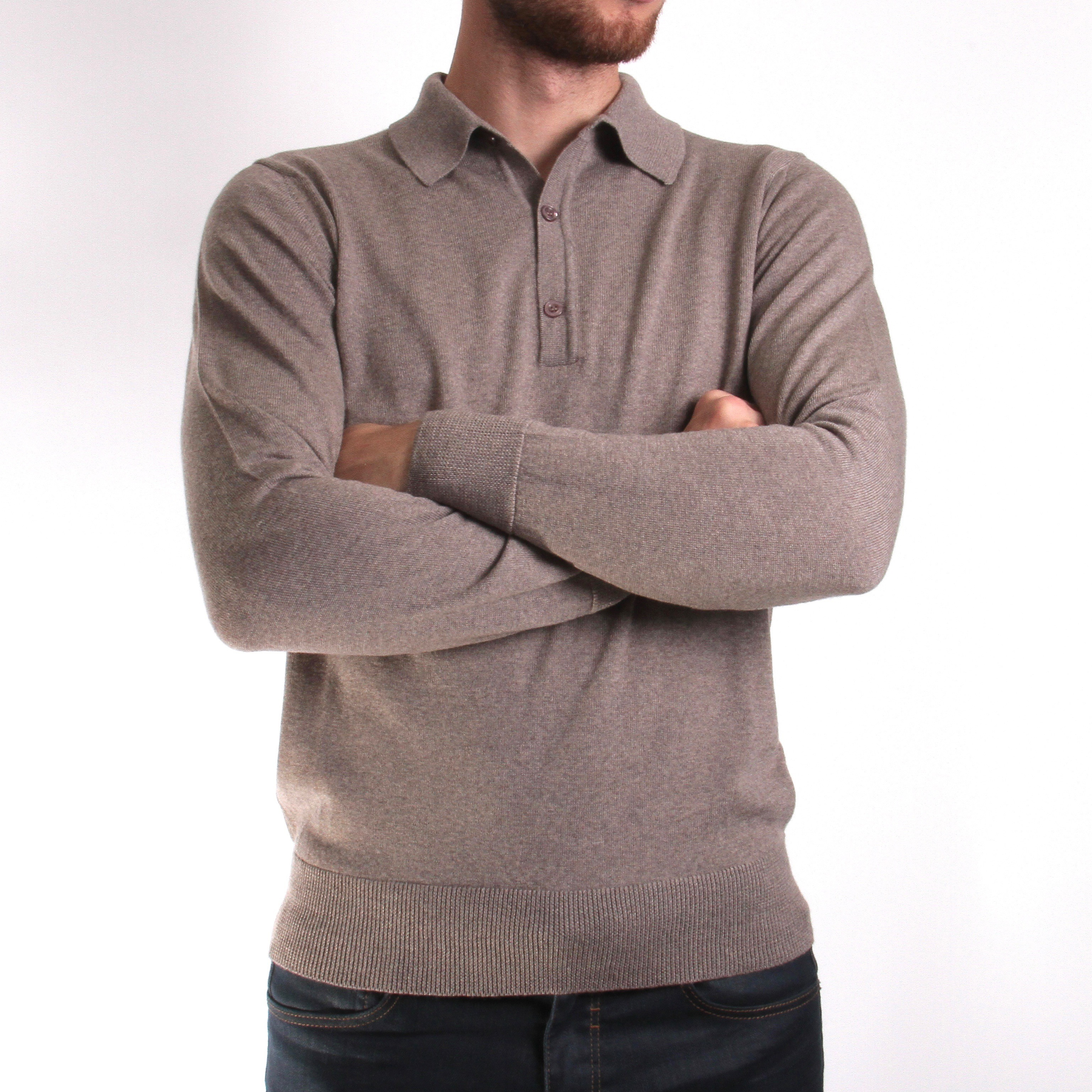 Pull Beige - Col Polo - Laine Vierge (pulls)