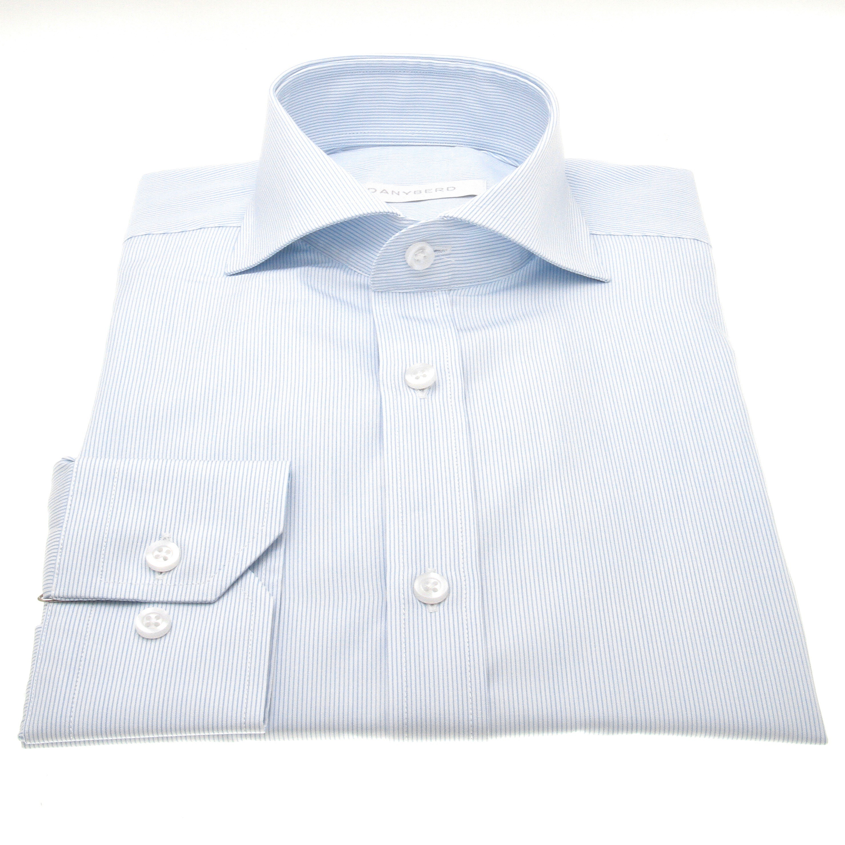 Chemise Reims : rayures blanches et bleues - Col Italien (ShirtsChemise Reims : Rayures - Slim-cut - Col Italien (Shirts