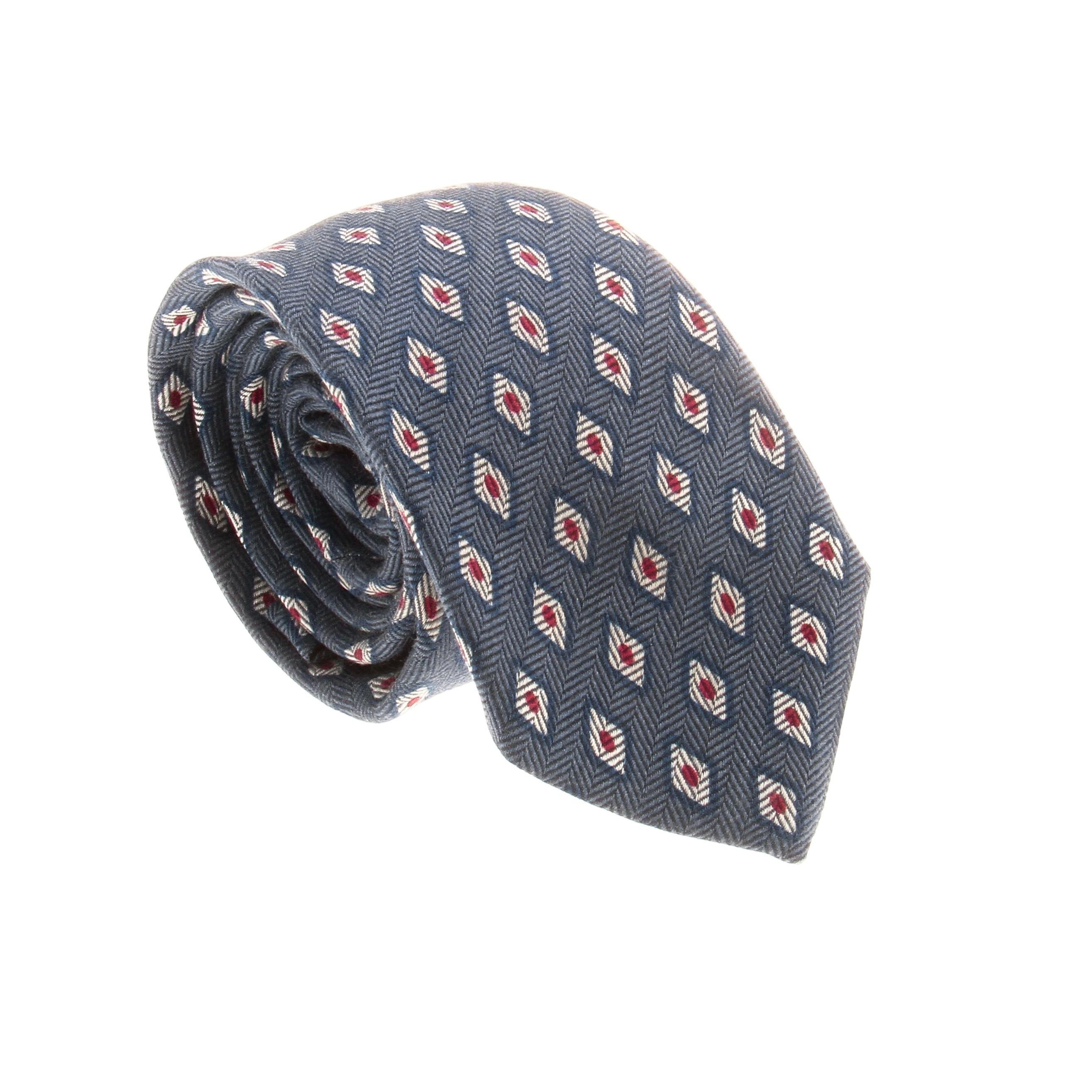 Cravate en soie : Base bleue - motifs blancs et rouges (cravate)