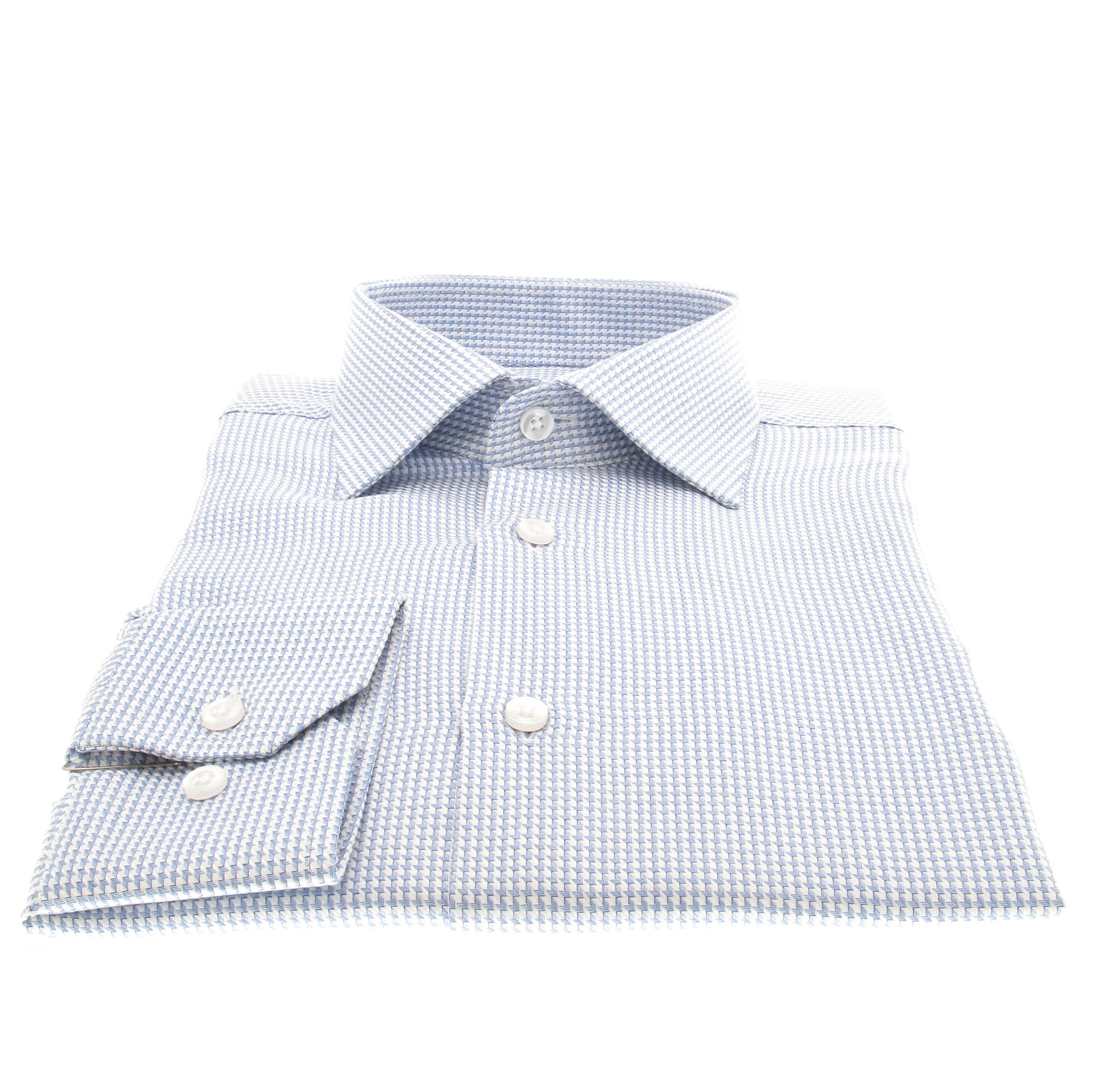 Chemise Reims : Bleu et blanc - Col Français (chemise)