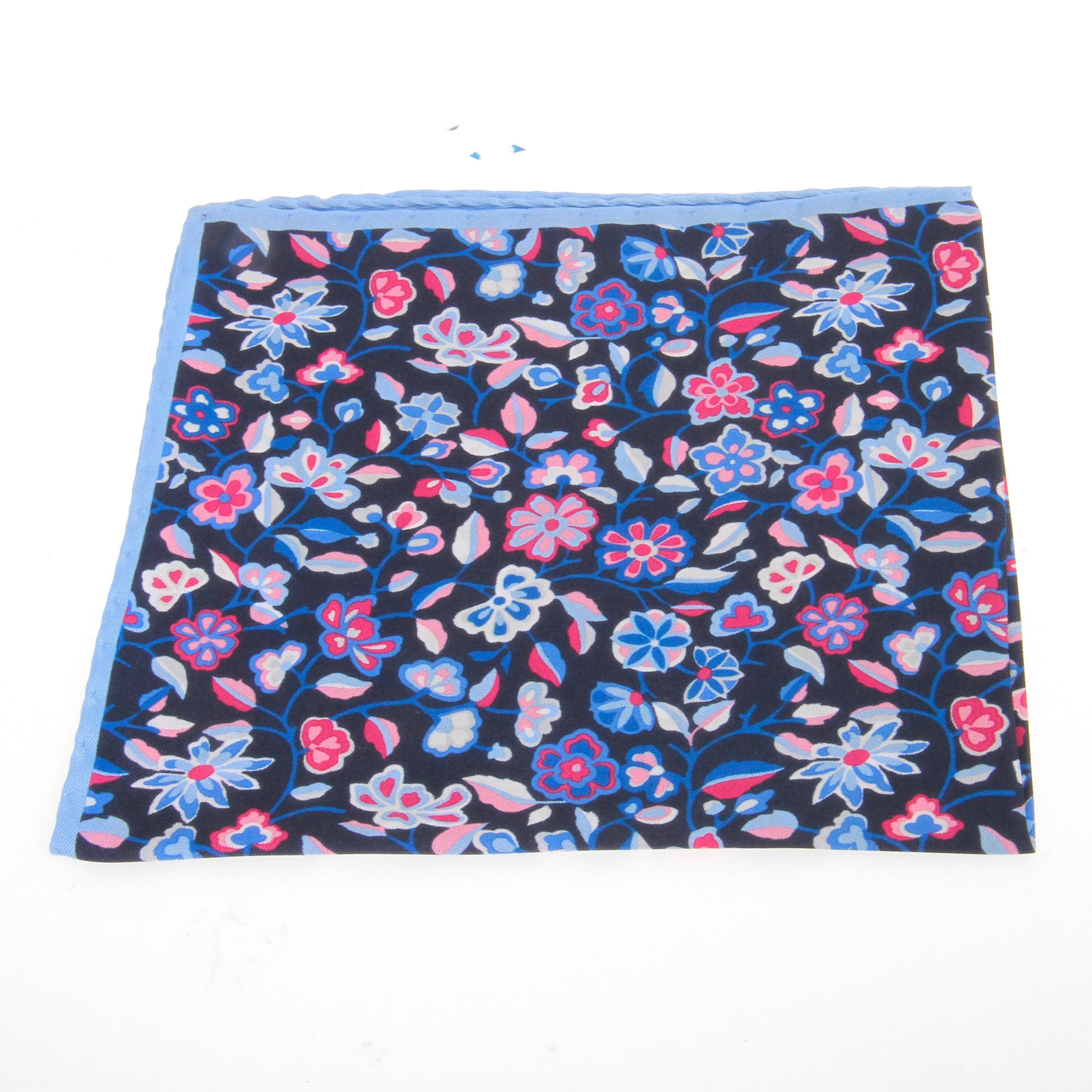 Pochette : marine - Motifs bleus et roses (Pochettes)