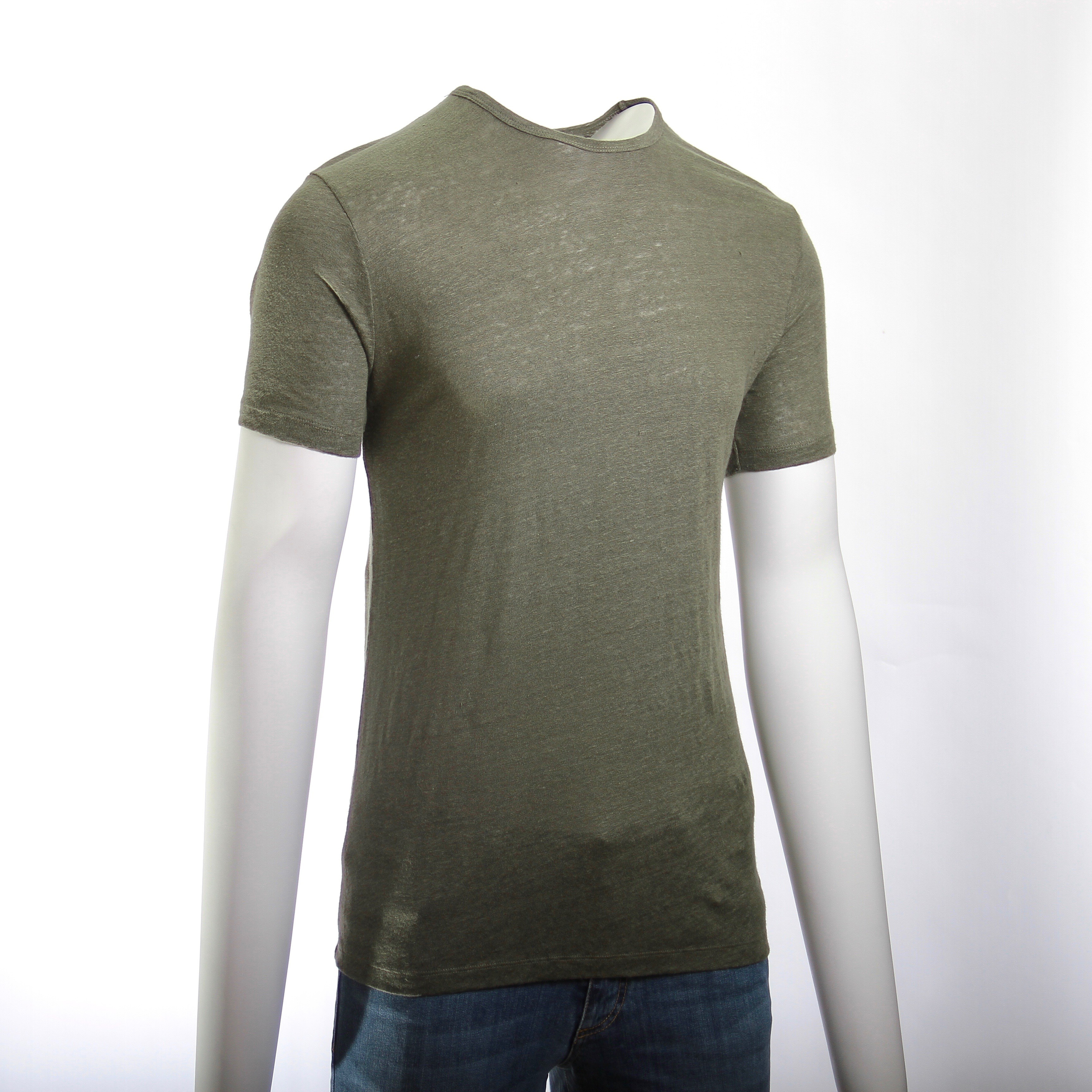 Tee-Shirt en Lin Lavé : Kaki - Manches courtes (Tee-shirt)
