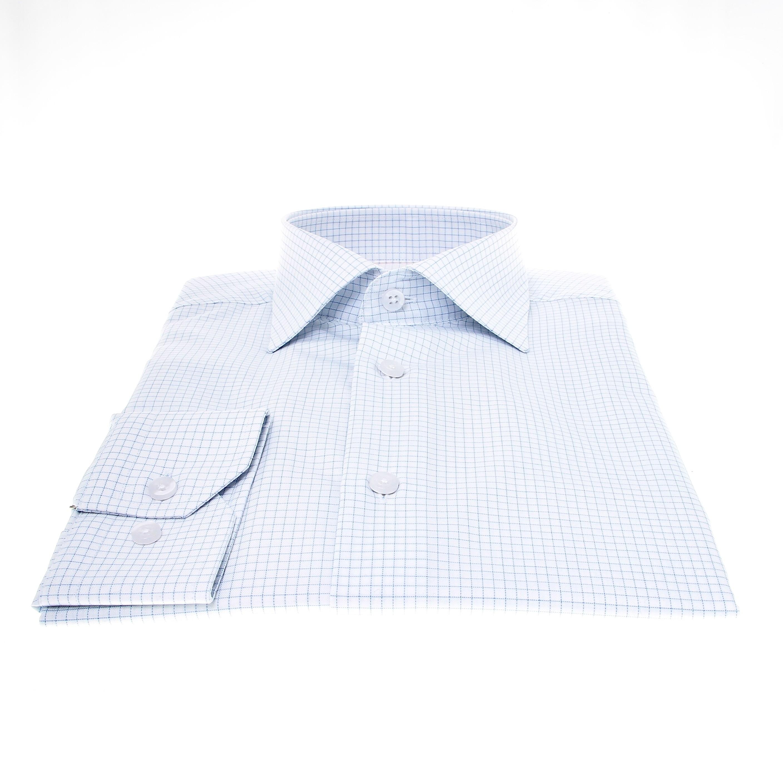 Chemise Lissandro : Blanc à carreaux ciel - Col Français (Shirts)