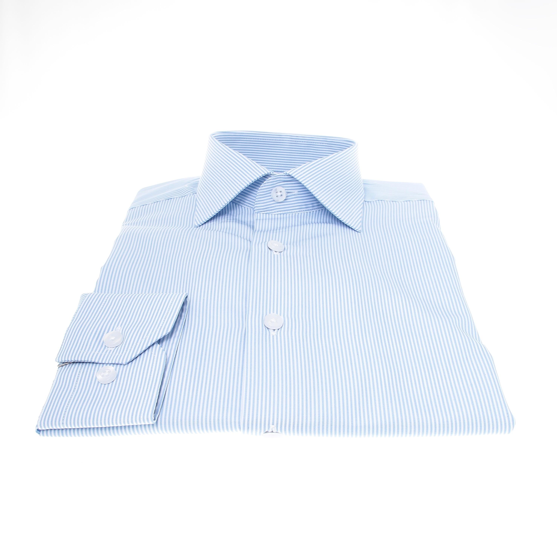 Chemise Plata : Rayures blanches et bleues - Col Français (chemise)