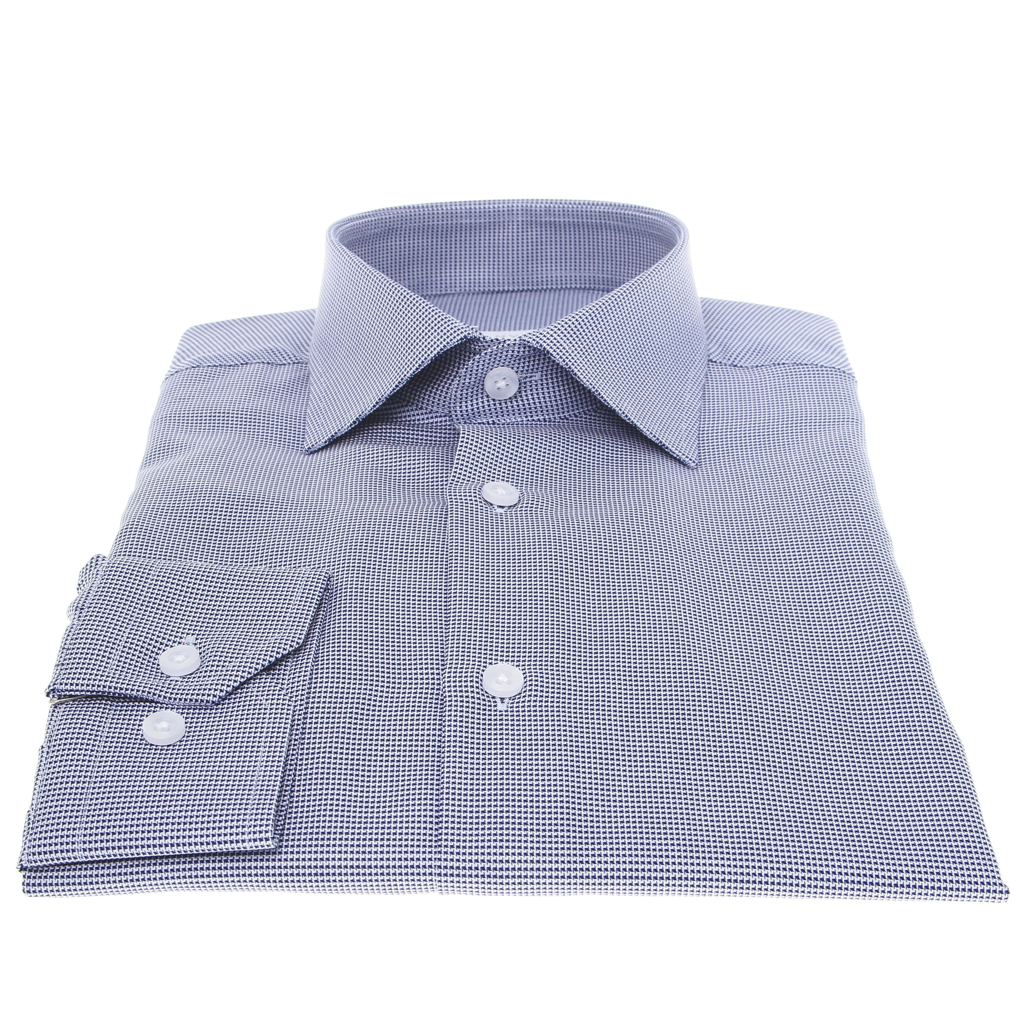 Chemise Prince : Motifs - Bleu et blanc - Col français (chemise)
