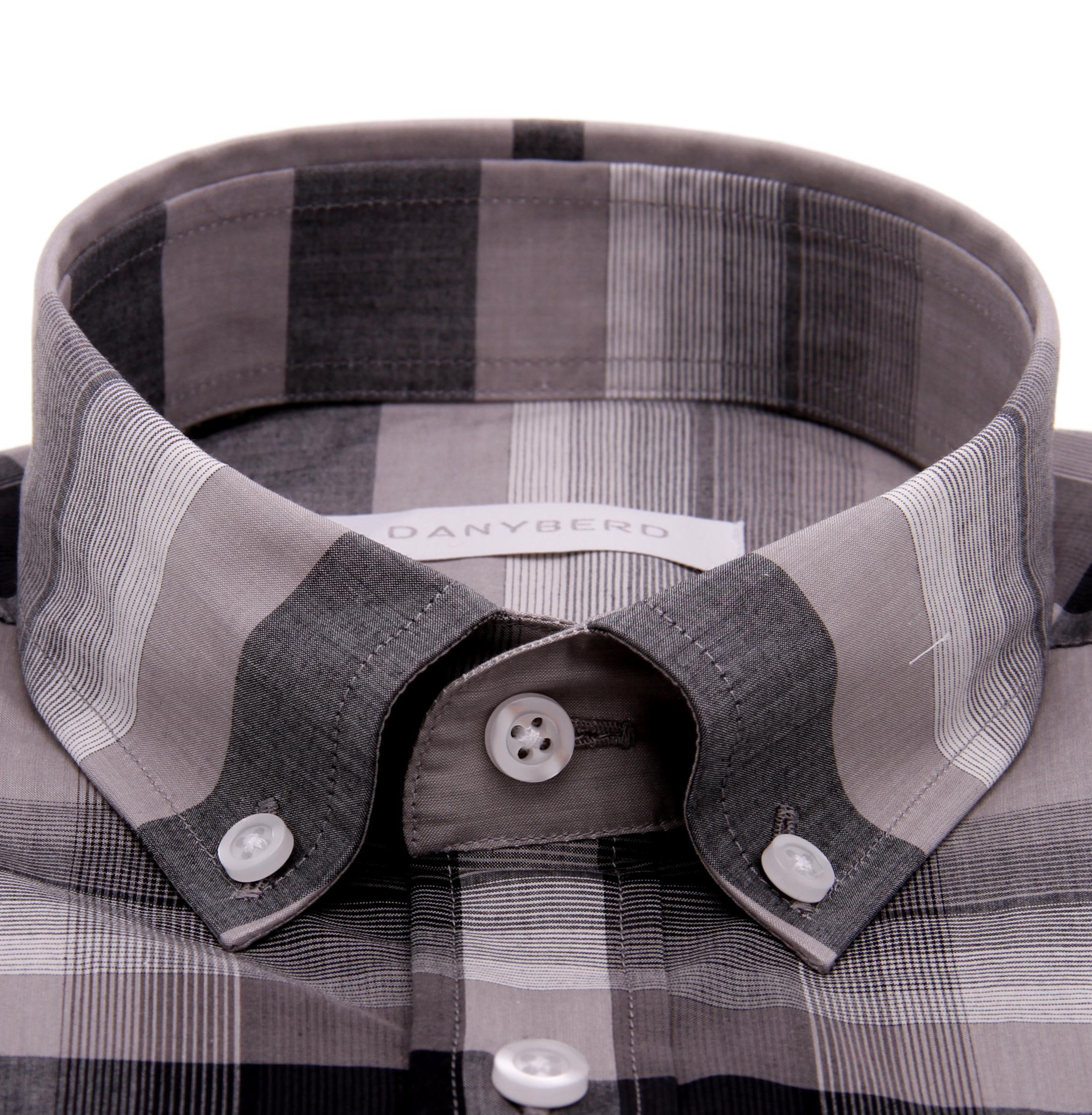 Chemise Vermont : Carreaux gris - Slim-Cut - Col boutonnés (Shirts)