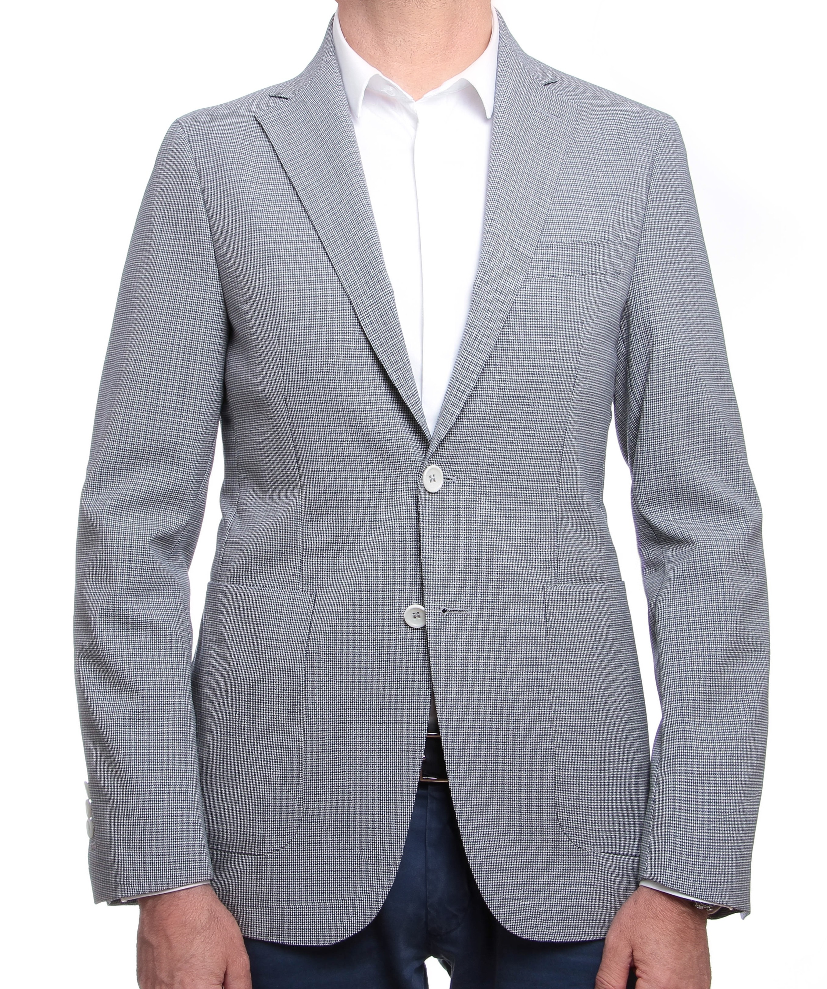 Veste pied-de-puce : Marine et blanc - Pure laine vierge - Canonico 110's (Suits)
