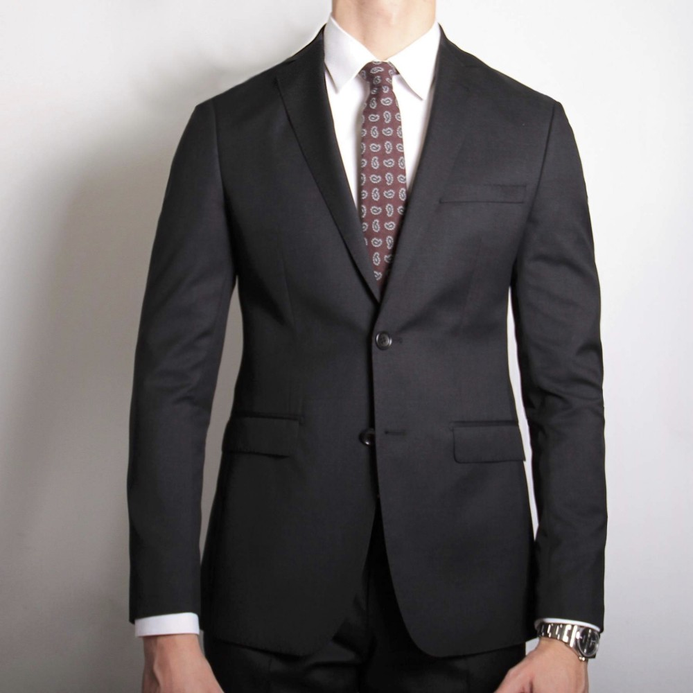 Costume gris anthracite - Doublure bordeaux - Slim-Fit - Pure Laine - Tissu Canonico 110's (Suits)