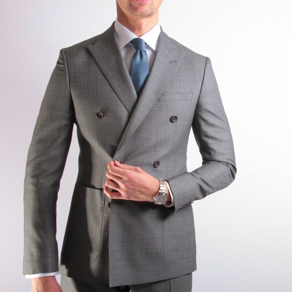 Costume Gris - Croisé - Caviar de Laine - Canonico 130's (Suits)