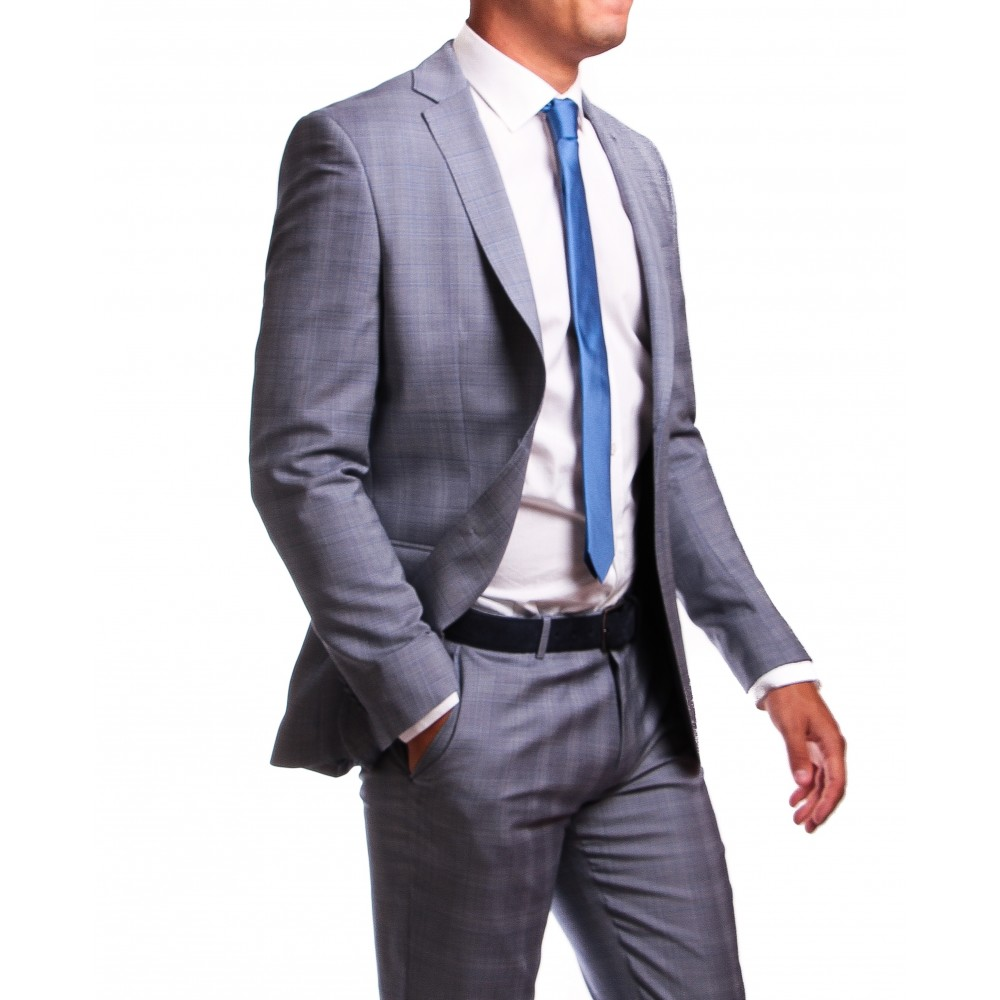 Costume Prince de Galles : Base grise et motif bleu - Laine et Soie - Tissu Loro Piana 130's