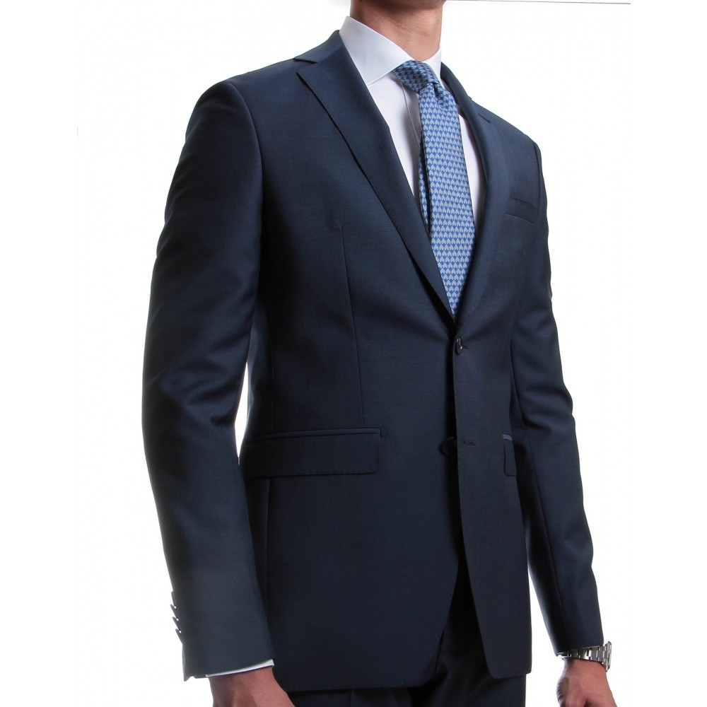 Costume bleu moyen : Slim-fit - Pure Laine - Tissu Canonico 110's (Suits)