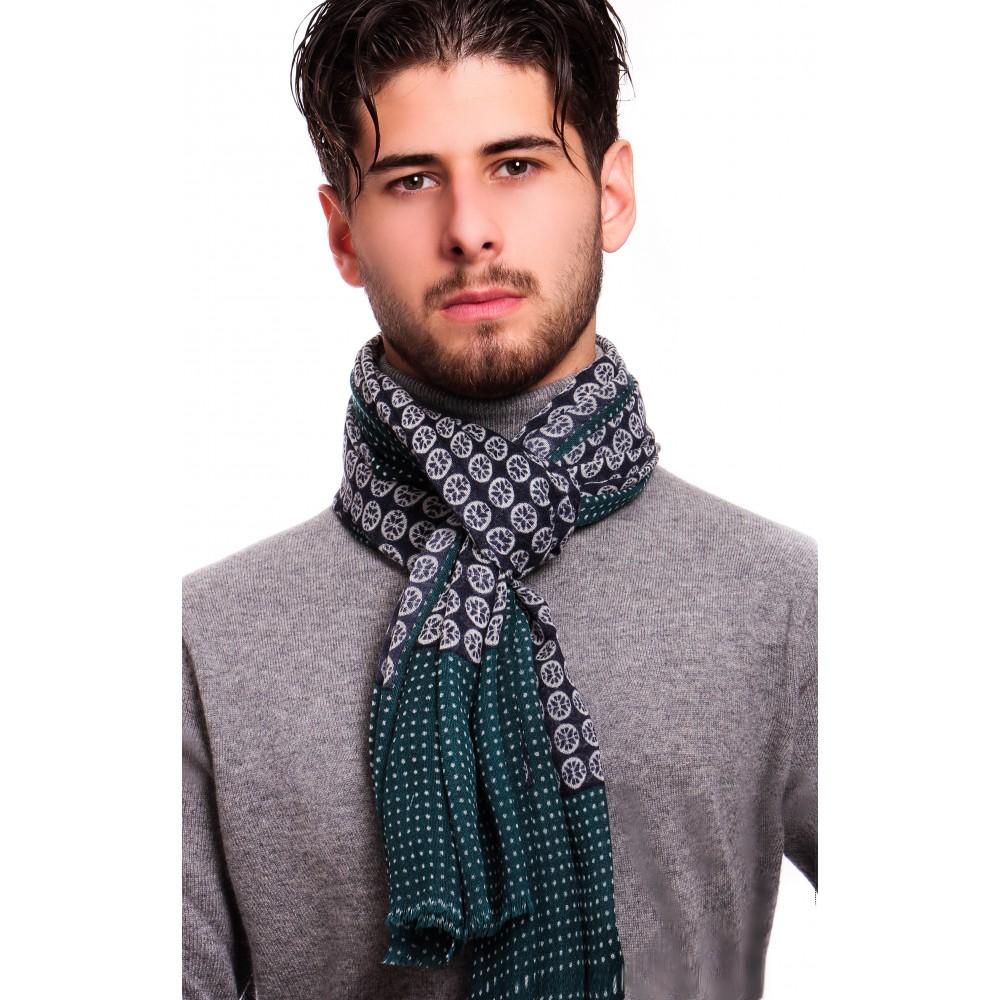 Chèche :  Bleu-vert et blanc -  Pure laine