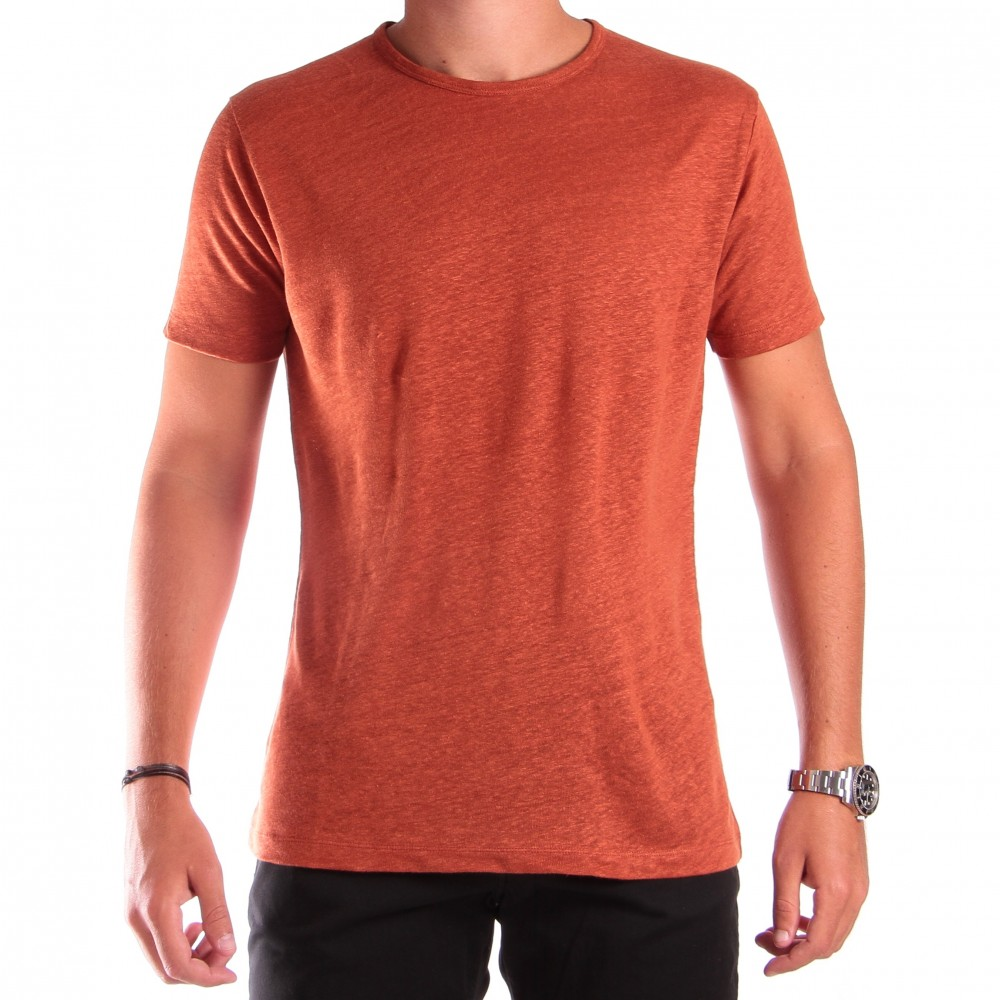 Tee-shirt en lin : Telha - Col rond - Manches courtes