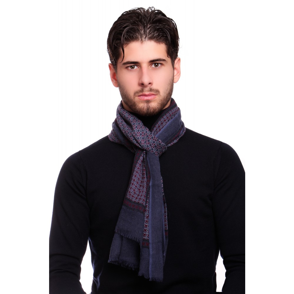 Chèche : Marine et bordeaux - Pure laine