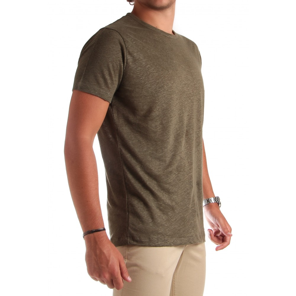 Tee-Shirt en Lin Lavé : Kaki - Manches courtes