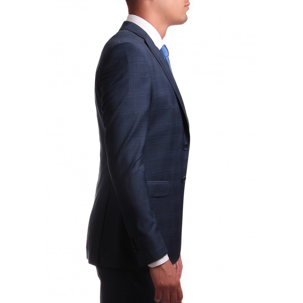 Costume Prince de Galles : Base bleue et motif ciel - Laine et Soie - Tissu Loro Piana 130's