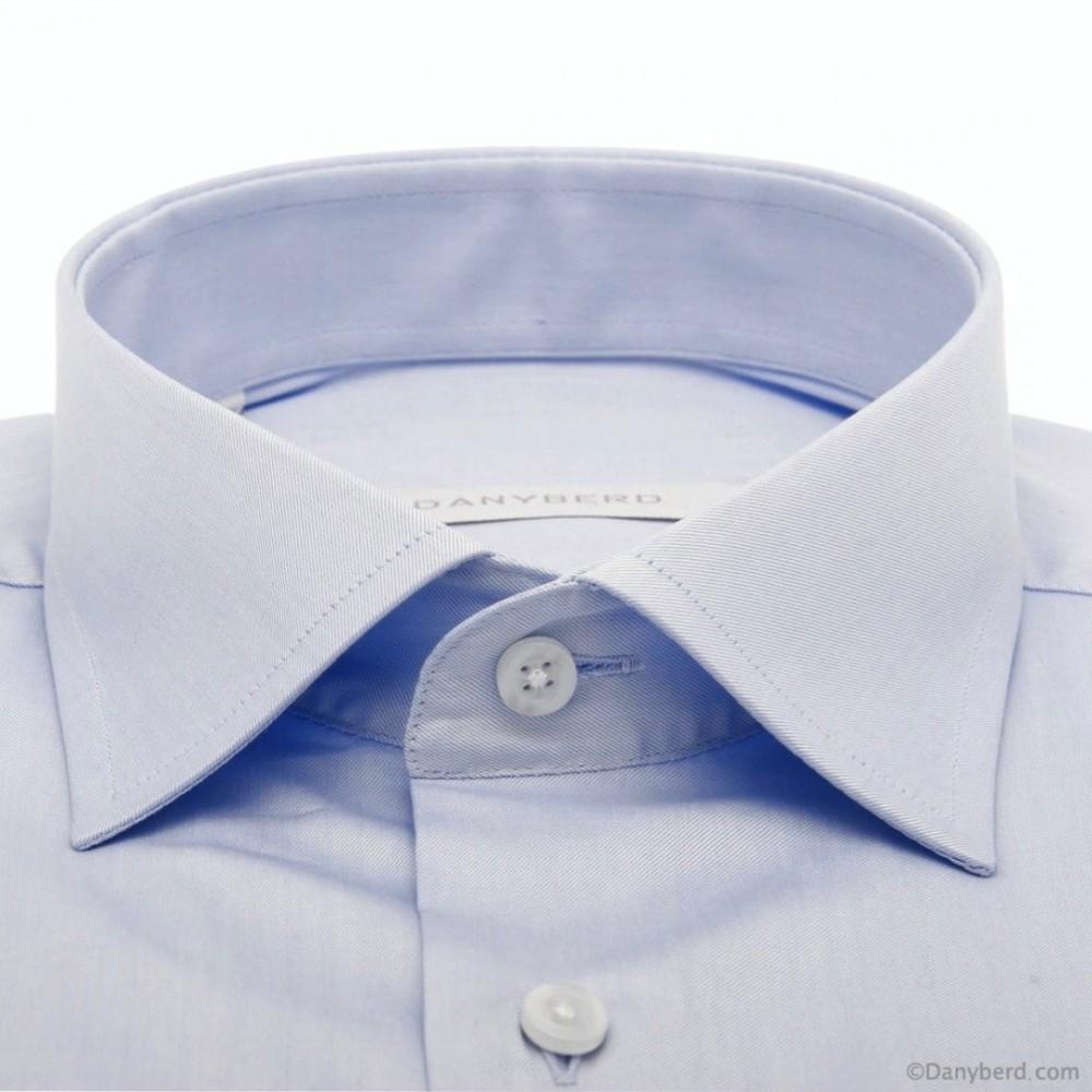 Chemise bleue unie Twill de coton slim-cut