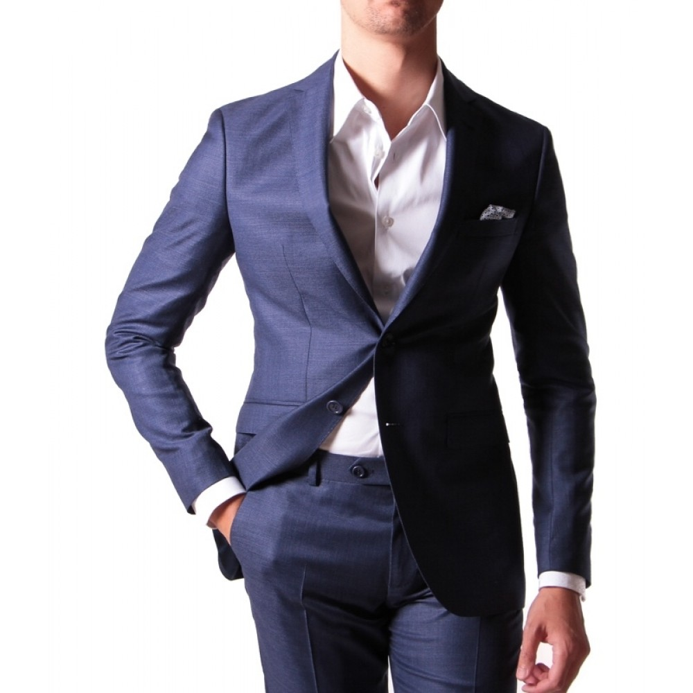 Costume : Bleu - Laine peignée - Tissu Reda 110's
