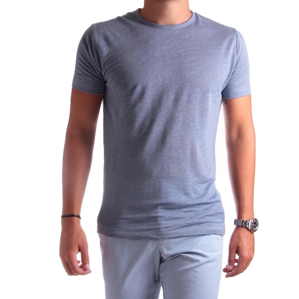 Tee-Shirt en Lin : Bleu - Col rond - Manches courtes