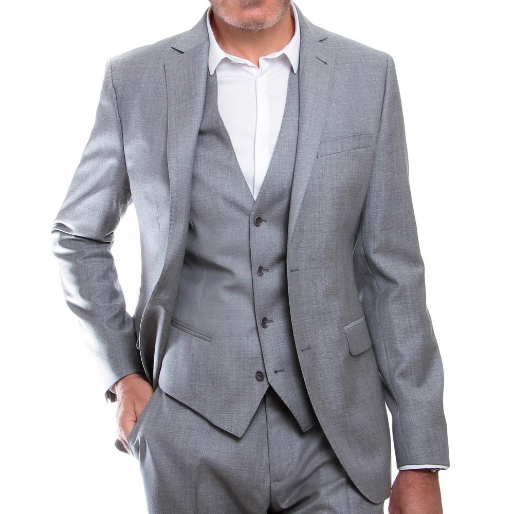 Costume 3 pièces : Gris - Pure laine - Canonico 110's