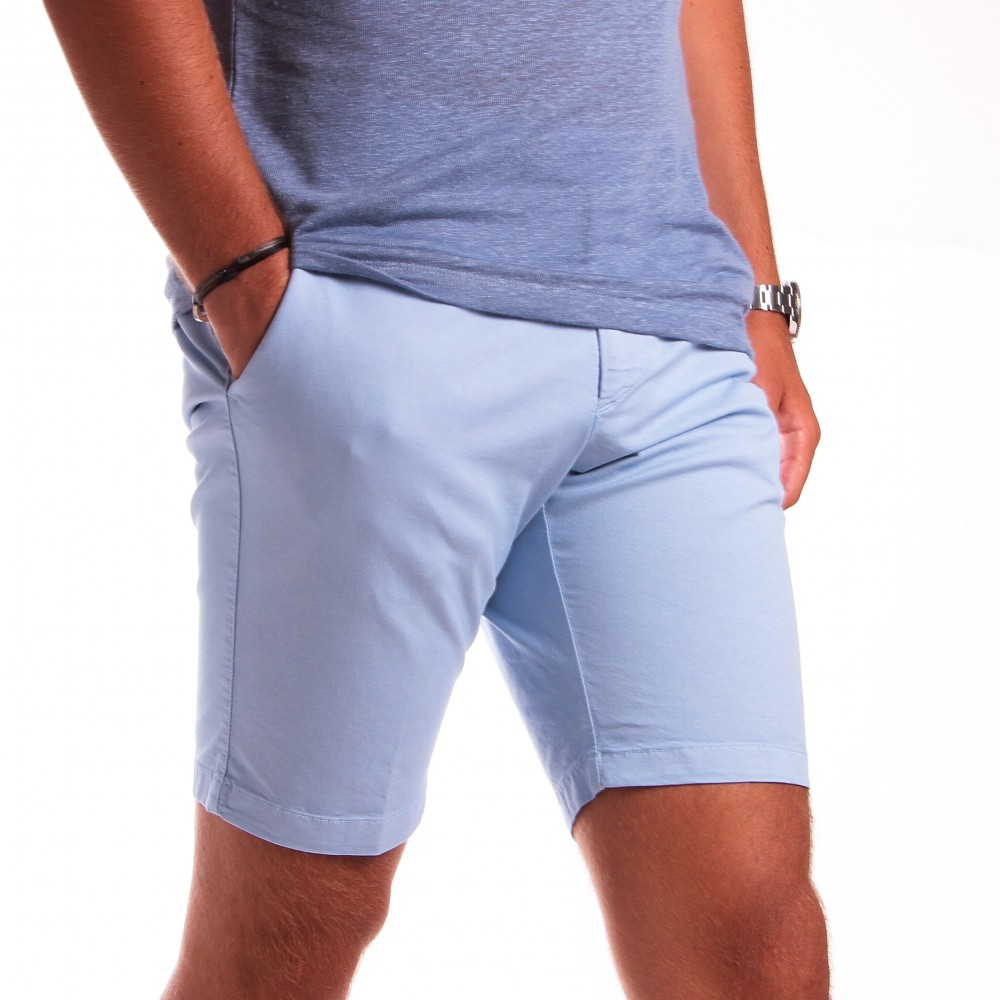 Bermuda : Bleu ciel - Coton stretch