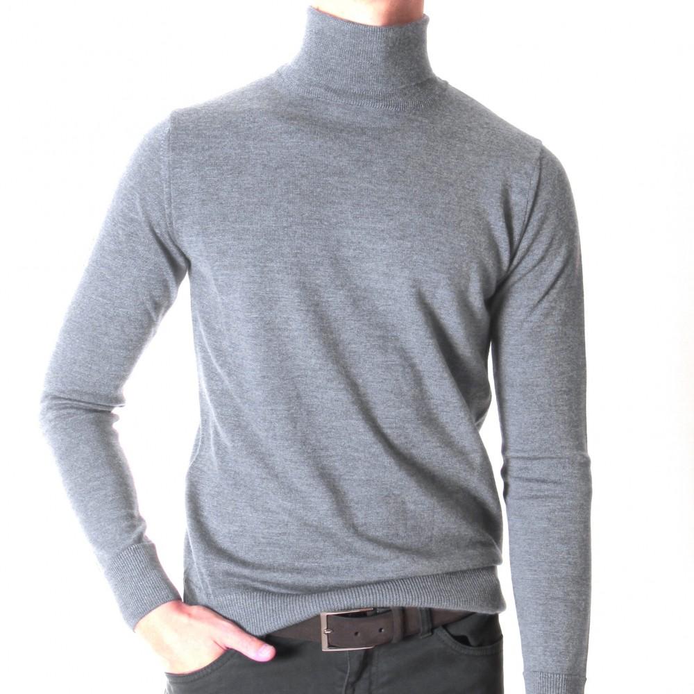 Pull Col roulé : GRIS clair - pure laine (pulls)