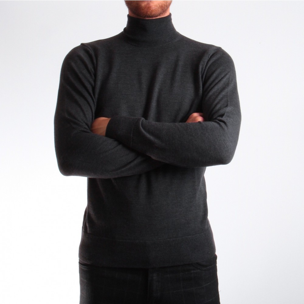 Pull Col roulé : anthracite - pure laine