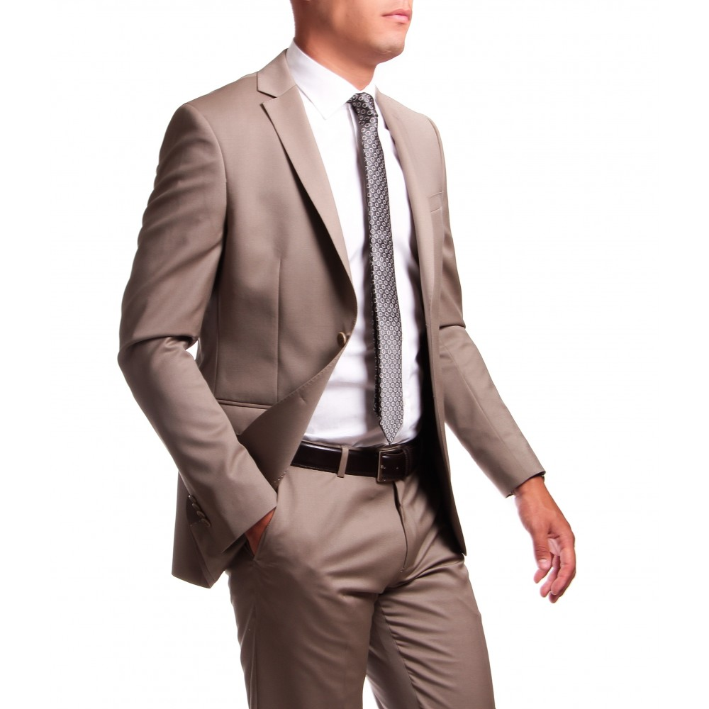 Costume Beige - Slim-Fit - Pure laine - Tissu Canonico 110's
