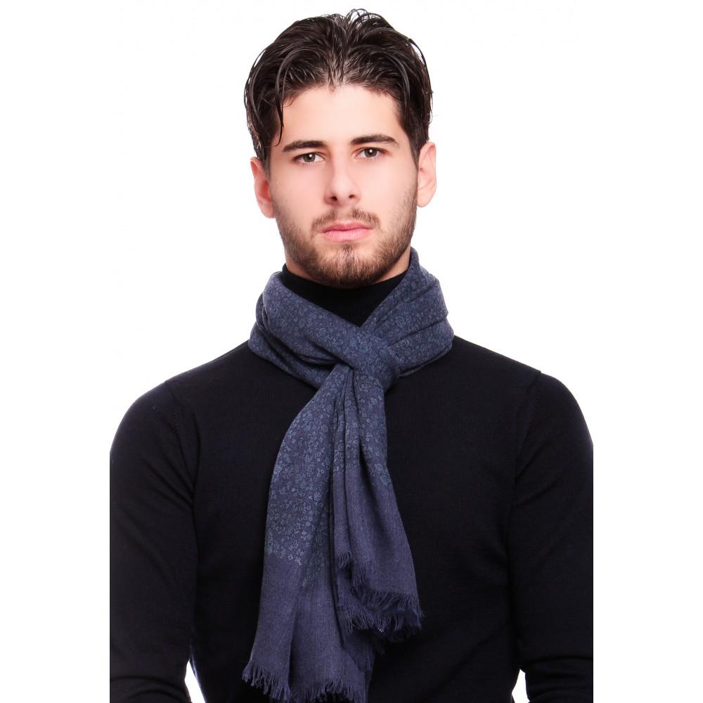 Chèche : bleu - Pure laine