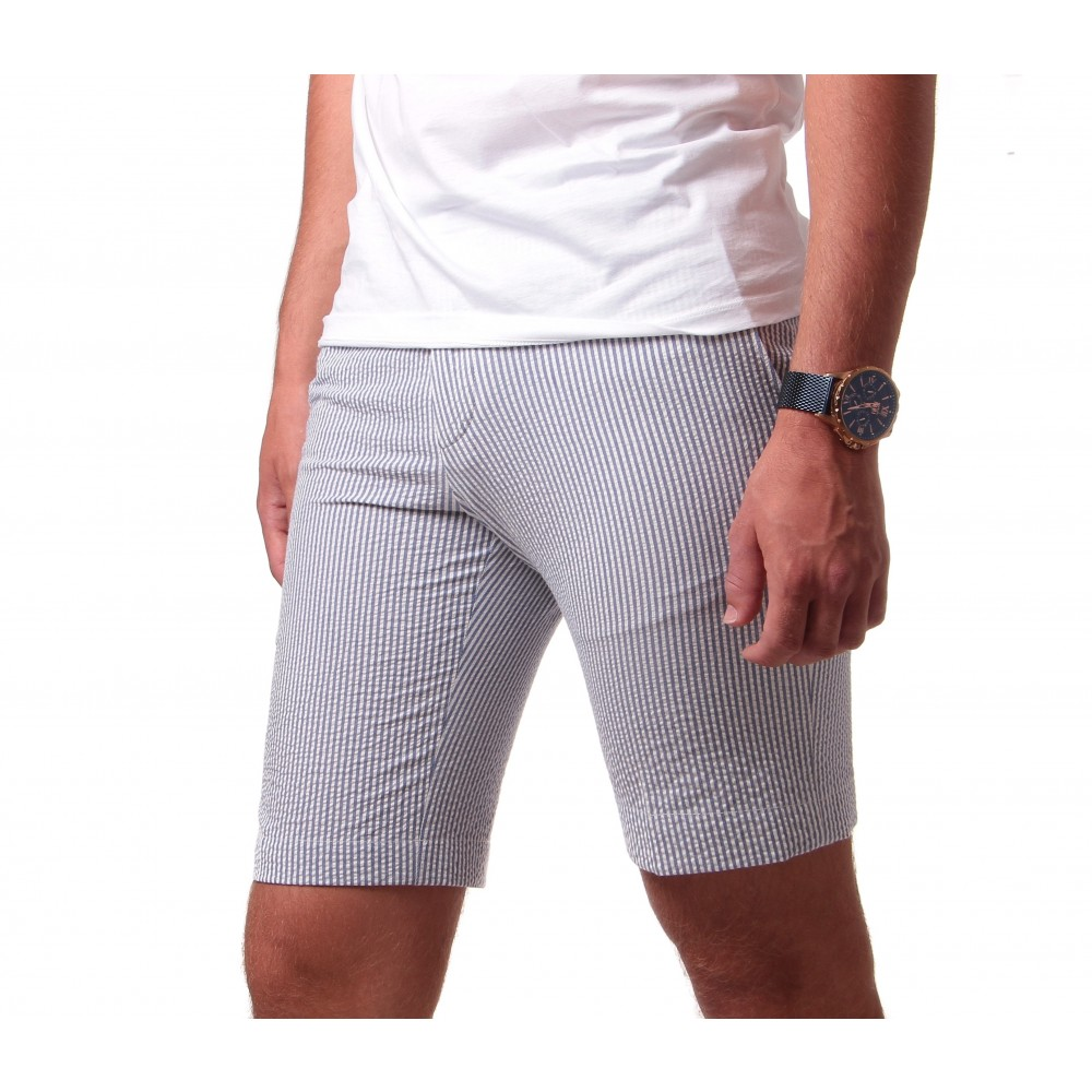 Bermuda Seersucker : bleu à rayures blanches - coton-stretch - made in Italy