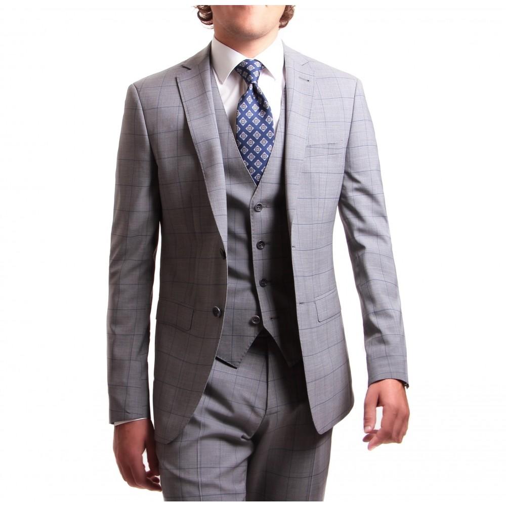 Costume 3 pièces : gris clair à carreaux-fenetre bleu - pure laine - tissu Zegna traveller 130's