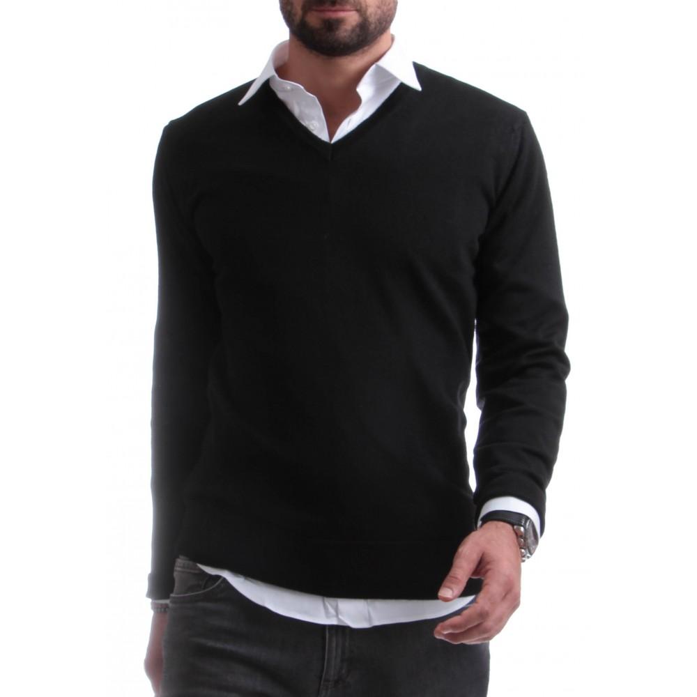 Pull Italy : Noir - Col en V - Pure laine mérinos