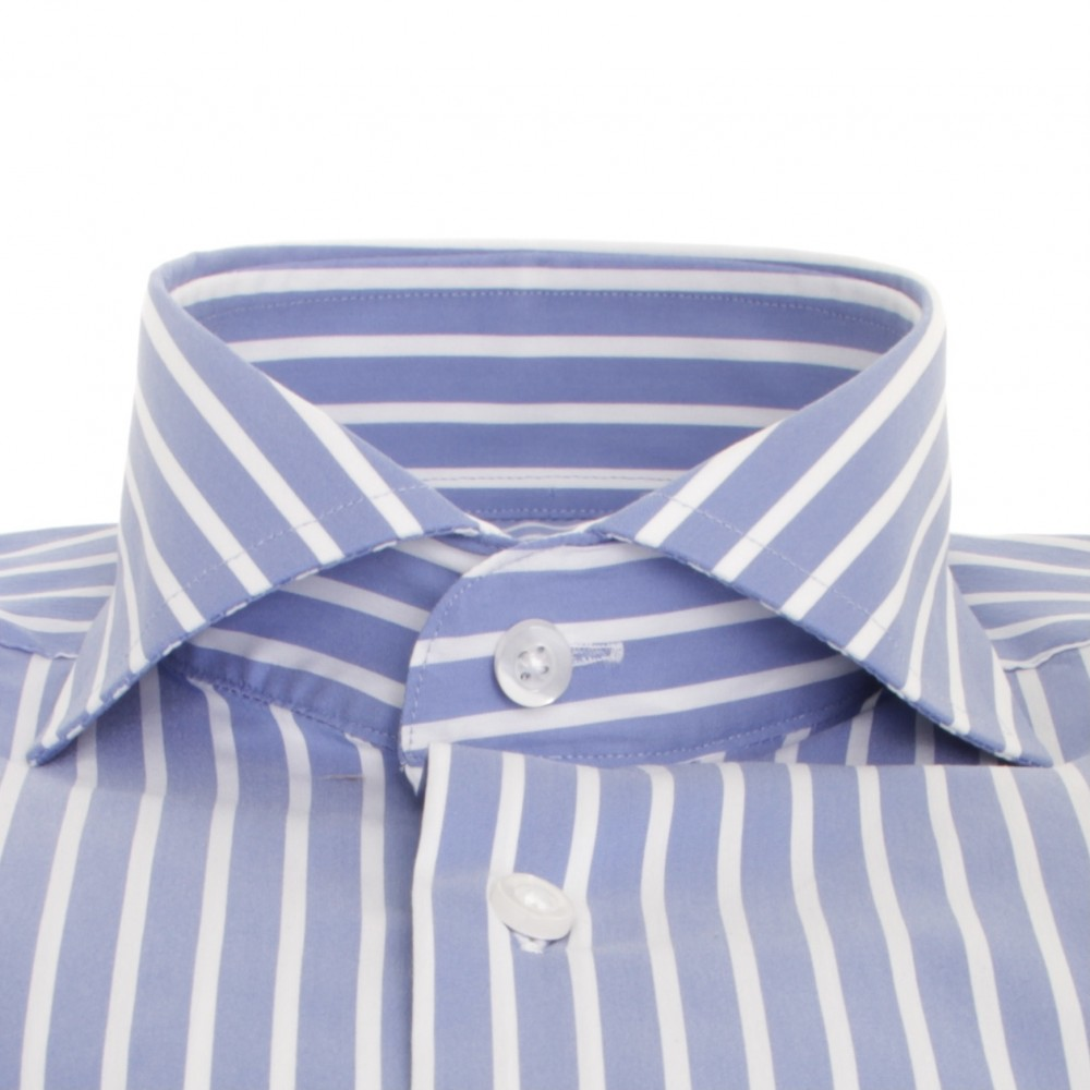 Chemise homme Bleue rayures blanches col Italien