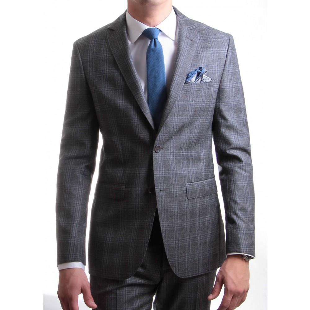 Costume Prince de Galles : Base grise et motif bleu - Pure laine - Tissu Reda 150's