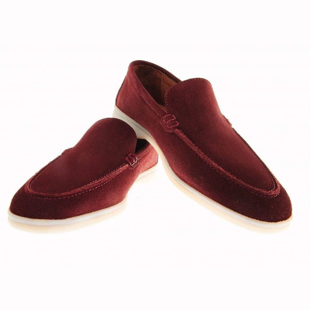 Mocassins : Bordeaux - Veau Velours - Made in Italy