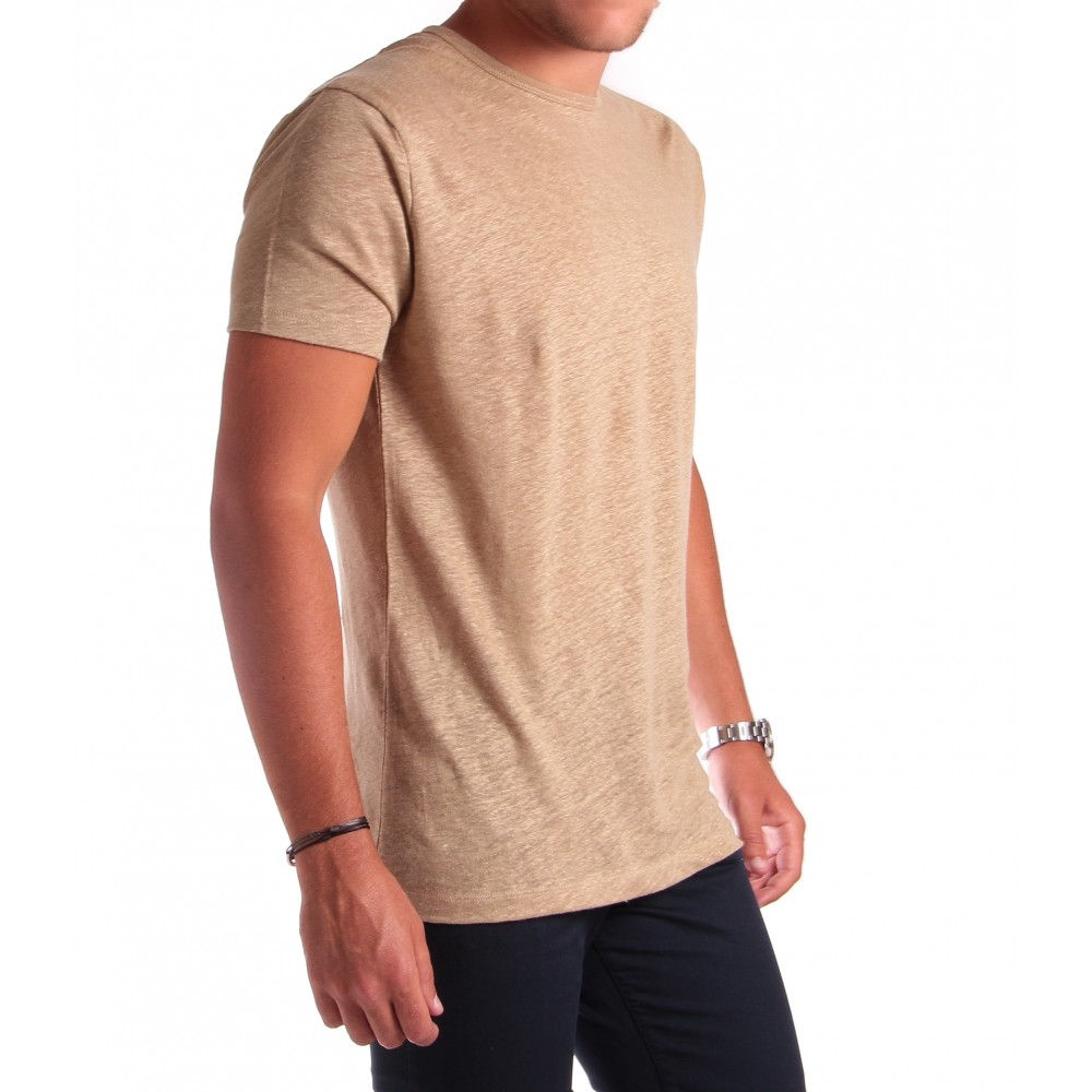 Tee-shirt en lin : Beige - Col rond - Manches courtes