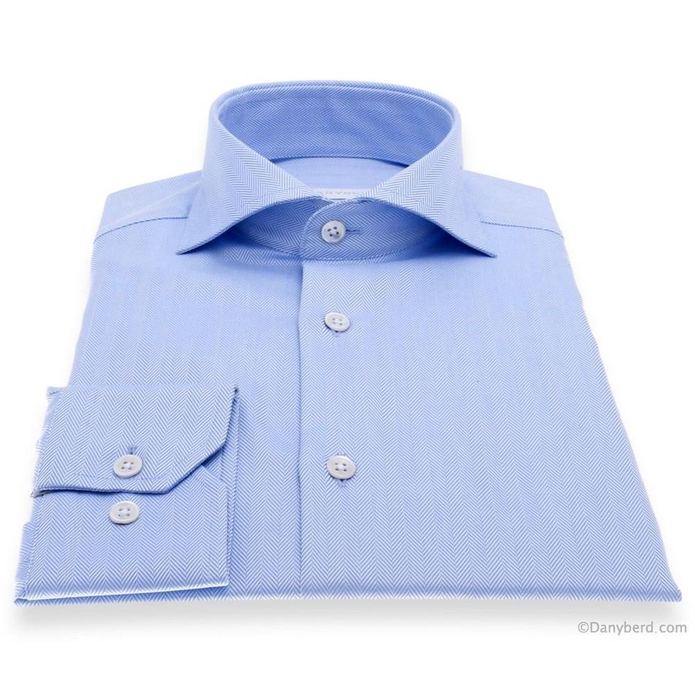 Chemise Reims : Chevron Bleu - Slim-Cut - Col Italien (Shirts)