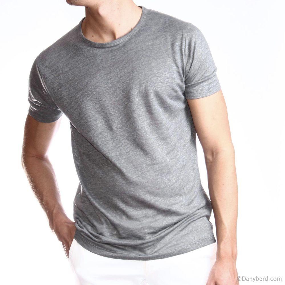 Tee-Shirt Gris - Manches courtes - Lin (Tee-shirt)