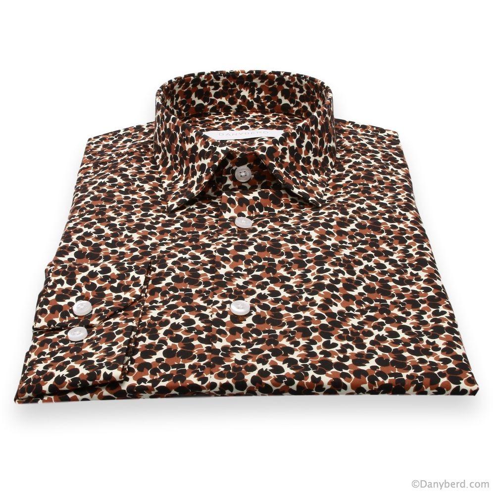 Chemise Summer : Motifs noir et marron-rouge - Slim-Cut - Petit Col Français (chemise)